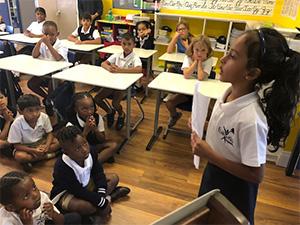 child giving a speech